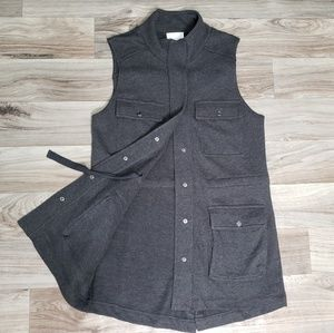 Caslon Dark Gray Long Sweatshirt Vest C15